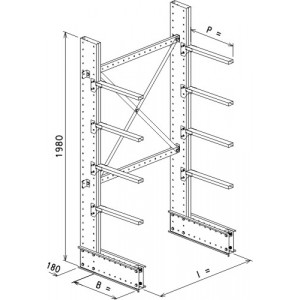 Cantilever monofronte a 2 colonne h. 1980 - Base + 4 mensole P. 600