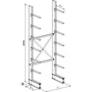 Cantilever monofronte a 2 colonne h. 2940 - Base + 6 mensole P. 720