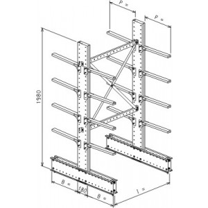 Cantilever bifronte a 2 colonne h. 1980 - Base + 4+4 mensole P. 360