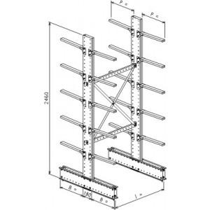 Cantilever bifronte a 2 colonne h. 2480 - Base + 5+5 mensole P. 720