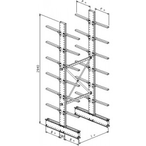 Cantilever bifronte a 2 colonne h. 2940- Base + 6+6 mensole P. 600