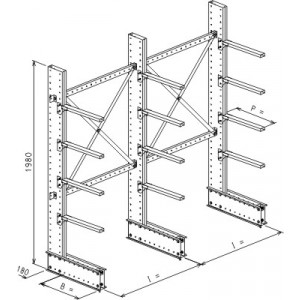 Cantilever monofronte a 3 colonne h. 1980 - Base + 4 mensole P. 360