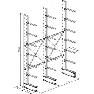 Cantilever monofronte a 3 colonne h. 2940 - Base + 6 mensole P. 600