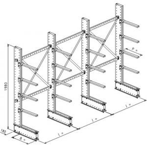 Cantilever monofronte a 4 colonne h. 1980 - Base + 4 mensole P. 360