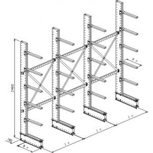 Cantilever monofronte a 4 colonne h. 2480 - Base + 5 mensole P. 360