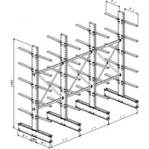 Cantilever bifronte a 4 colonne h. 2480 - Base + 5+5 mensole P. 360