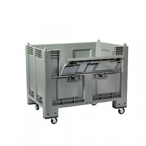 Cassa pallet per alimenti capacità litri 600 con portello e 4 ruote