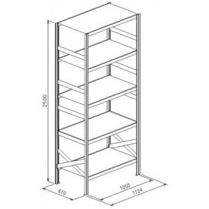 Modulo base da L.1124xP.610xH.2500 a 5 piani - Port.piano Kg.150
