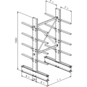 Cantilever bifronte a 2 colonne h. 1980 - Base + 4+4 mensole P. 720
