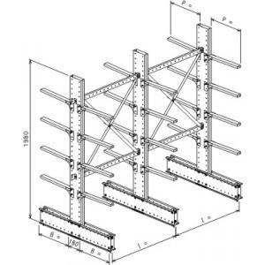 Cantilever bifronte a 3 colonne h. 1980 - Base + 4+4 mensole P. 600
