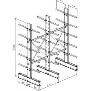 Cantilever bifronte a 3 colonne h. 2480 - Base + 5+5 mensole P. 480