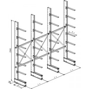Cantilever monofronte a 4 colonne h. 2940 - Base + 6 mensole P. 480