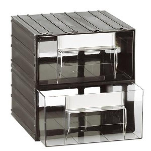 Cassetti Plastica Componibili.Cassettiera A 2 Cassetti Plastica Trasparenti